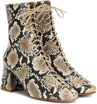 BY FAR Becca snake-effect leather ankle boots