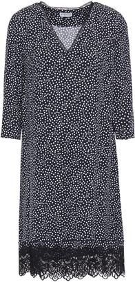 Claudie Pierlot Lace-trimmed Printed Crepe Mini Dress