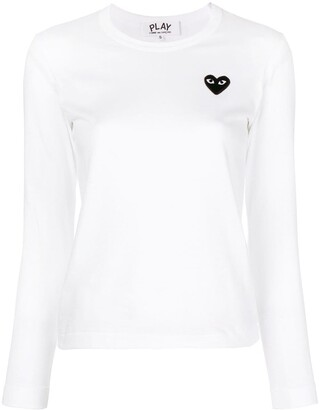 Comme des Garcons long sleeves embroidered heart T-shirt