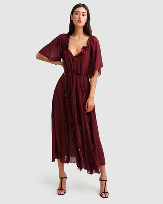 Belle & Bloom Women's Red Maxi dresses - Amour Amour Ruffled Midi Dress - Size One Size, S at The Iconic