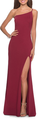 La Femme One-Shoulder Jersey Column Gown with Skirt Slit
