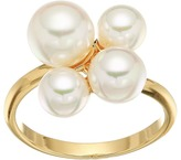 Majorica White Round Pearl Cluster Gold-Plated Ring