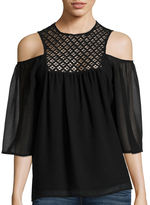 SUNSET AND SIXTH Sunset & 6th Elbow-Sleeve Chiffon Cold-Shoulder Top