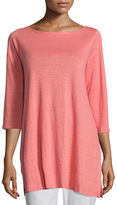 Eileen Fisher 3/4-Sleeve Organic Linen Tunic, Plus Size