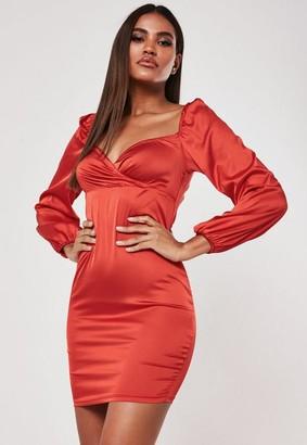 Missguided Red Satin Milkmaid Wrap Mini Dress