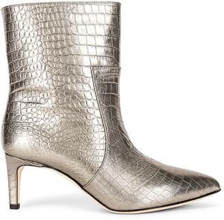 Paris Texas Metallic Croco 60 Ankle Boot in Dark Silver | FWRD