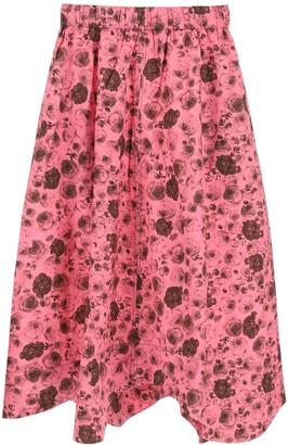 Ganni Floral Printed Wavy Midi Skirt