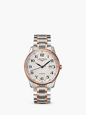 Longines L28935797 Men's Master Collection Automatic Date Two Tone Bracelet Strap Watch, Silver/Rose Gold