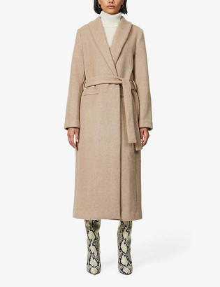 Reformation Greenwich belted wool-blend coat