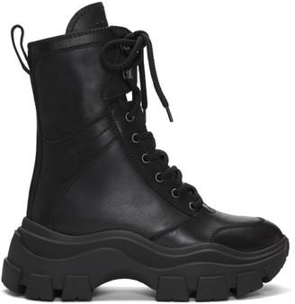 Prada Black Leather Mid-Calf Boots