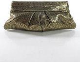 Lauren Merkin Gold Leather Laser Cut Clutch Handbag In Dust Bag