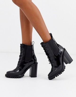 Asos Design DESIGN Ellen chunky lace up ankle boots in black