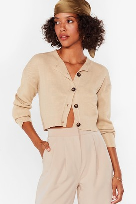 Nasty Gal Womens Knit's Our Time Cropped Button-Down Cardigan - Beige - L, Beige