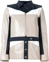 Courreges colour block military jacket - women - Cotton/Polyurethane/Acetate/Cupro - 42