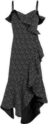 Jonathan Simkhai Speckle Print Asymmetrical Ruffle Dress