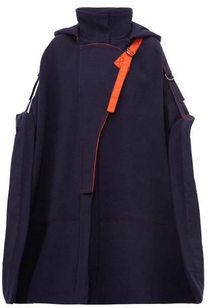 0ba54c9507 Virgin Wool Blend Buckled Shoulder Cape - Womens - Navy