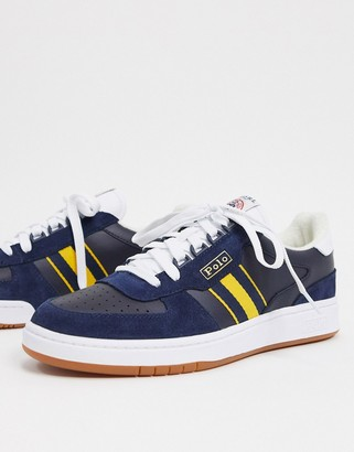 Polo Ralph Lauren sneaker in navy with constrasting gold stripe