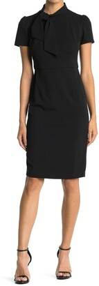 Maggy London Neck Tie Short Sleeve Sheath Dress