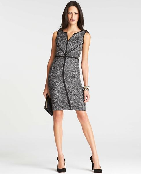 Ann Taylor Petite Tipped Tweed Sheath Dress