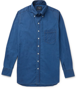 Drakes Slim-Fit Button-Down Collar Cotton And Linen-Blend Shirt