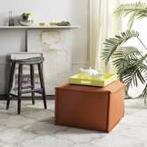 Safavieh Elaine Pouf Upholstery Color: Burnt Orange