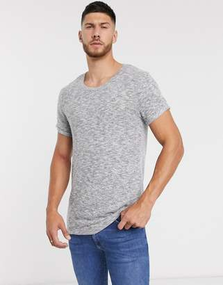 Asos Design DESIGN longline t-shirt with curved hem and scoop neck with roll sleeve in brushed fabric in gray