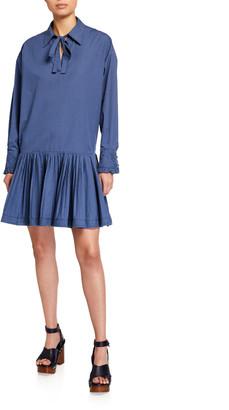 See by Chloe Long-Sleeve Drop-Waist Peplum Hem Dress