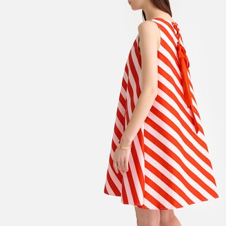 La Redoute Collections Striped Swing Cotton Dress with Tie-Back