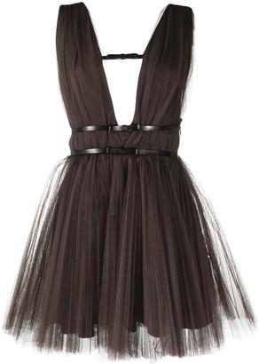 BROGNANO Mesh Pleated Mini Dress