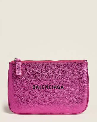 Balenciaga Rose Fuchsia Everyday Small Leather Pouch