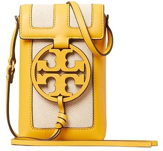 Tory Burch Miller Leather & Canvas Crossbody Phone Case