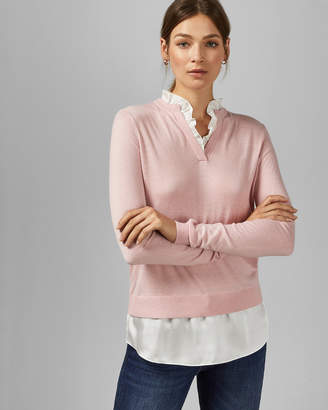 Ted Baker ILINAA V neck mock layer sweater and blouse