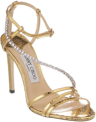 Jimmy Choo Thaia 100 Snake-Embossed Leather Sandal