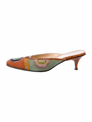 Fendi Animal Print Beaded Accents Mules Orange
