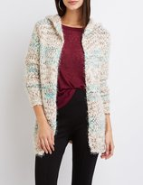 Charlotte Russe Striped Chunky Knit Hooded Cardigan