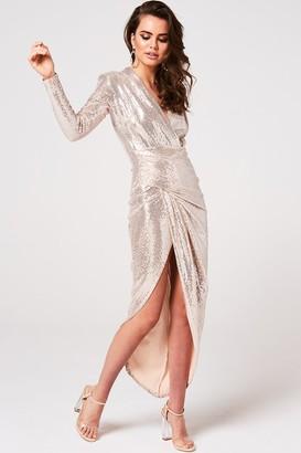 Divine Gold Sequin Midi Wrap Dress