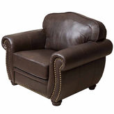 Asstd National Brand Elizabeth Leather Roll-Arm Chair