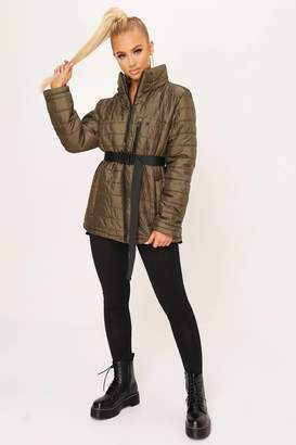 I SAW IT FIRST Khaki Zip Front Padded Jacket