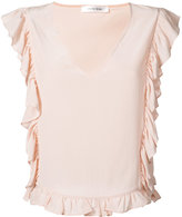 Anine Bing Frill V-Neck Top - women - Silk - XS