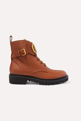 Valentino Garavani Go Logo Embellished Leather Ankle Boots - Tan