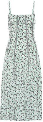 ALEXACHUNG Topstitched floral dress
