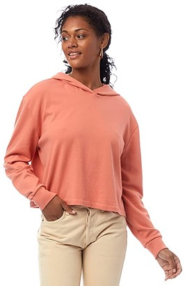 Alternative Lightweight French Terry Cropped Pullover Hoodie (Sunset Coral) Women's Sweatshirt