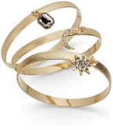 INC International Concepts Gold-Tone 3-Pc. Set Crystal Charm Bangle Bracelets, Created for Macy's