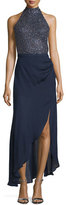 Haute Hippie Embellished Halter-Neck Gown, Midnight