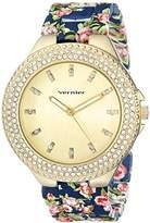 Vernier Women's VNR11167BU Rhinestone-Accented Gold-Tone Watch
