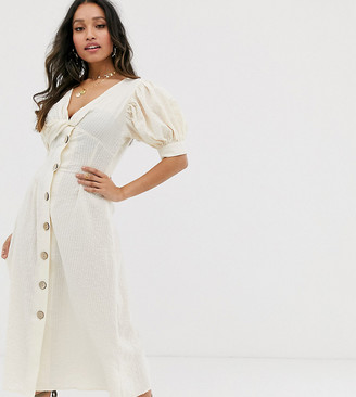Asos DESIGN Petite button through twist front maxi tea dress in seersucker