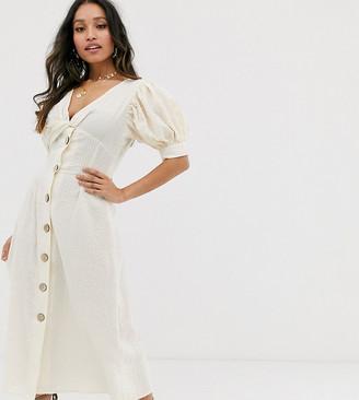 Asos DESIGN Petite button through twist front maxi tea dress in seersucker-White