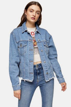 Topshop Raw Hem Oversized Denim Jacket