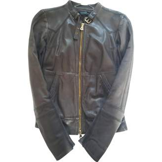 GUESS Grey Leather Leather Jacket for Women
