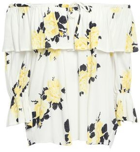 Ganni Silvery Off-the-shoulder Ruffled Floral-print Crepe Top